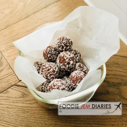 Raspberry coconut chocolate Protein Balls